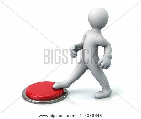 Man Pressing The Red Button