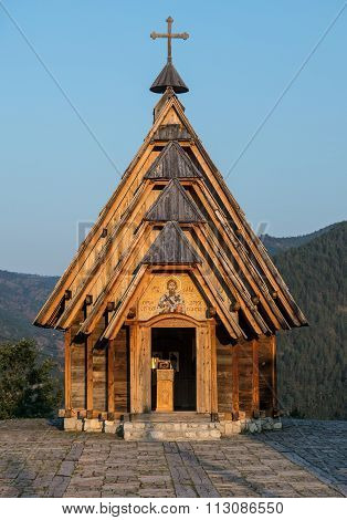 Wooden Saint Sava Church in traditional Drvengrad village Serbia poster
