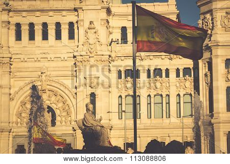 Cibeles Palace Is The Most Prominent Of The Buildings At The Plaza De Cibeles In Madrid, Spain. This