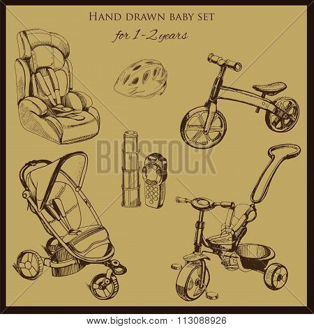 retro hand drawn baby set for 1-2 years old