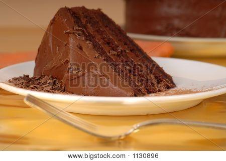 Piece Of Chocolate Cake With Chocolate Shavings