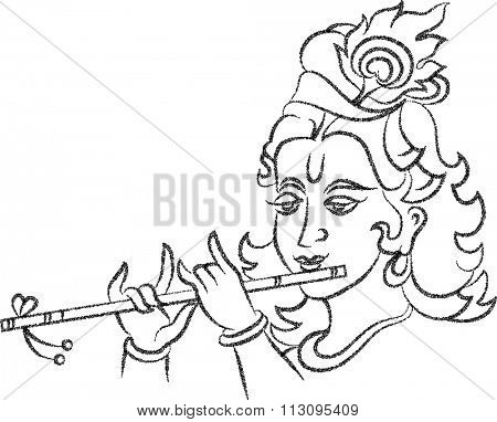 Lord Krishna Stipple Effect Raster Illustration