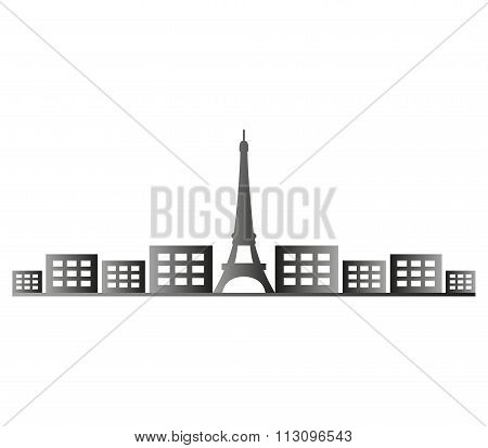 paris skyline shown on a white background