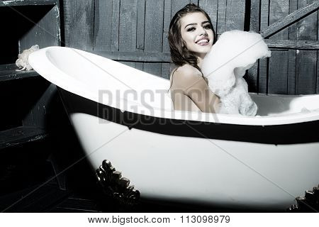 Happy Woman In Bath