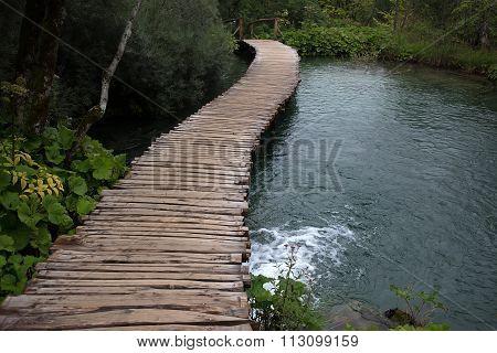 Wooden Walkway Across River