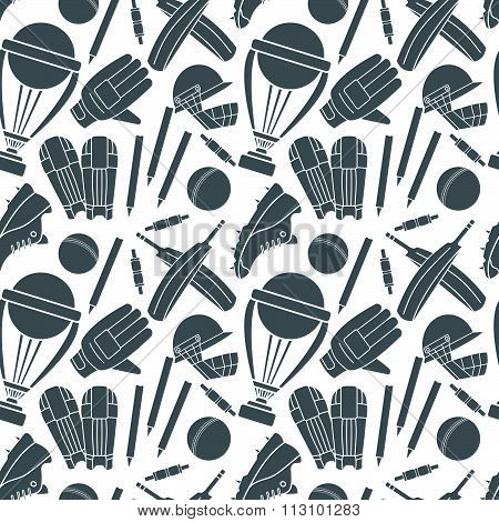 Seamless Pattern With H Cricket Game Elements