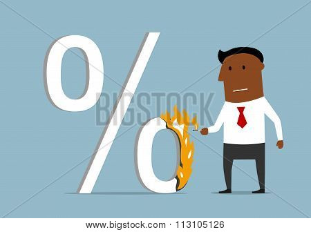 Businessman reducing the loan percent