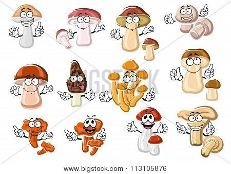 Funny cartoon forest edible mushrooms