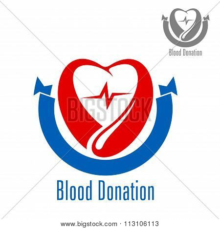 Blood donation icon with heart and drop
