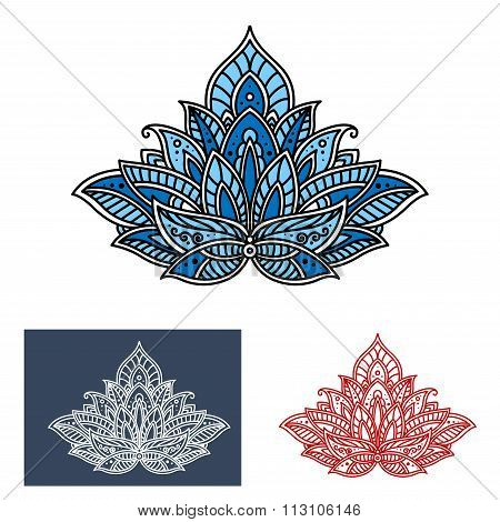 Persian paisley blue flower with scrolls