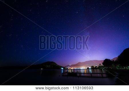Sunrise on the bay of Nidri in Lefkas island Greece with startrail