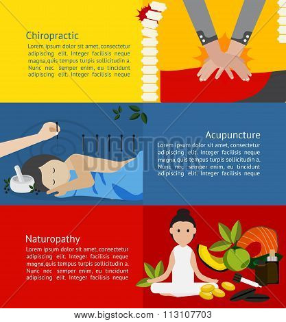 Alternative medicine and treatment clinic for patient such as chiropractic acupuncture and naturopathy infographic banner badge template brochure layout for chemical free health care education and advertisement create by vector poster