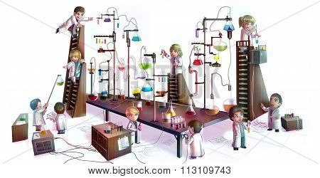 Cartoon Illustration Of Children Scientists Studying Chemistry, Working And Experimenting In Massive