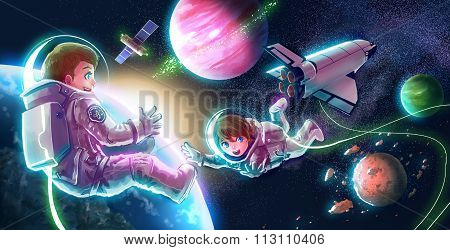 Cartoon Illustration Of Astronaut Couple Both Boy And Girl Are Flying In Space