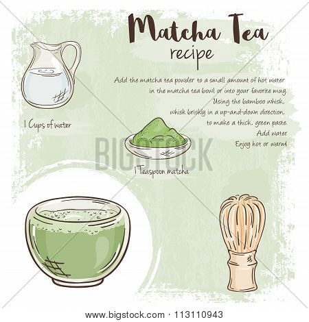 Vector Hand Drawn Illustration Of Matcha Tea Recipe With List Of Ingredients
