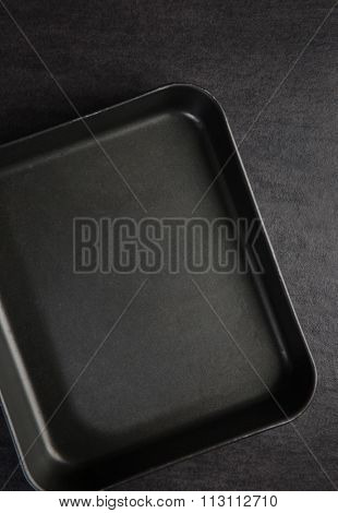 Empty baking tray. View from above.