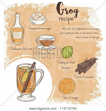 Vector Hand Drawn Illustration Of Grog Recipe With List Of Ingredients