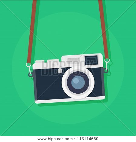 Retro Camera Vector Flat Illustration