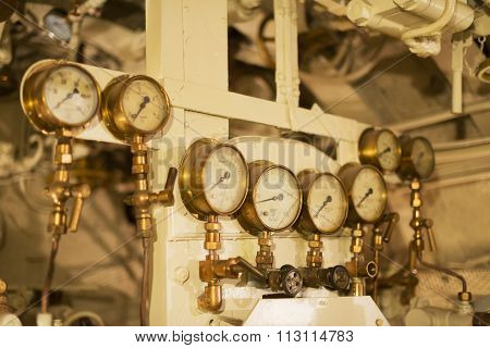Detailed view of many manometers inside of submarine. ** Note: Shallow depth of field