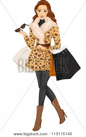 Illustration of a Stylish Woman Wearing a Fur Coat Out Shopping