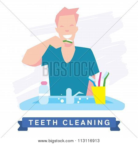 Teeth Cleaning. Morning routine, Hygiene, Clean Teeth, Toothbrush, Toothpaste. Beautiful Smile healthy teeth. Clean teeth - the guarantee of health. White Tooth, vector tooth, cartoon smile. Oral Care poster