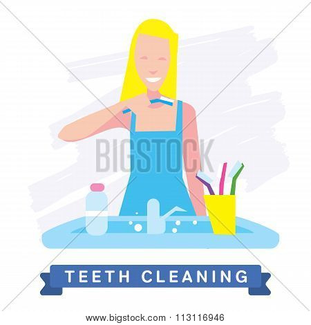 Teeth Cleaning. Morning routine, Hygiene, Clean Teeth, Toothbrush, Toothpaste. Beautiful Smile healthy teeth. Clean teeth - the guarantee of health. White Tooth, vector tooth, cartoon smile. Oral Care