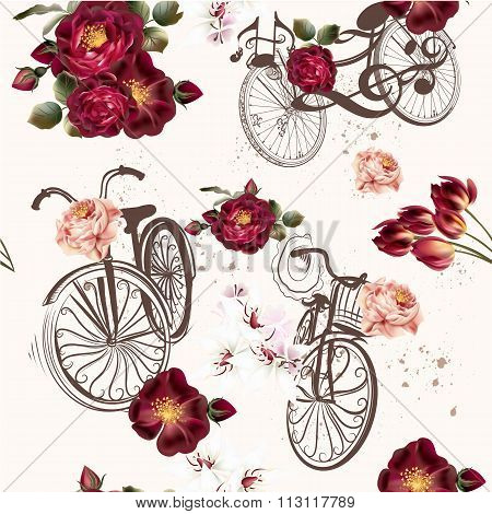Cute Vector Invitation With Fake Bicycle And Flowers