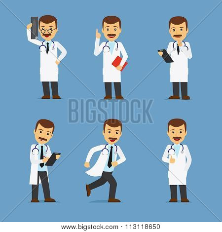 Doctor character with x-ray and stethoscope