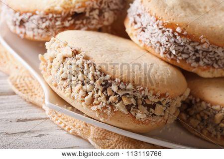 Argentinean Dessert: Cookies Alfajores On A Plate Macro. Horizontal