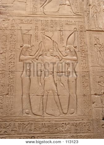 Bas-relief with goddesses and pharaons in Edfu temple, Egypt Africa poster