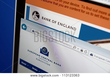 Saransk, Russia - December 20, 2015: A computer screen shows details of Bank of England and ECB main page's on its web site's. Selective focus.