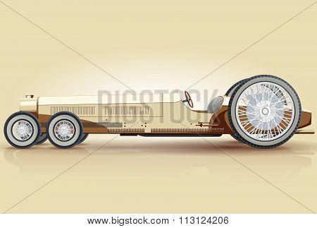 Creamy retro long car for notables
