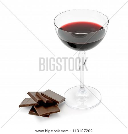 Glass Of Wine And Chocolate Isolated On White Background