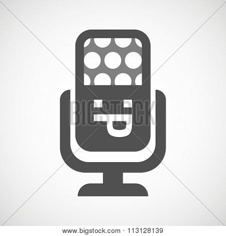 Isolated Microphone Icon With A Sticking Out Tongue Text Face