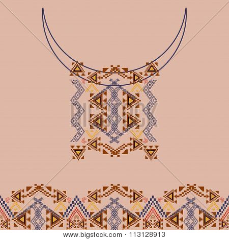 Neckline design with border in ethnic style for fashion. Aztec neck print. Vector tribal embellishment. Ethnic native american indian ornaments poster