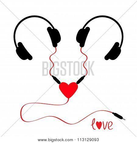 Two Headphones. Earphones Couple Audio Splitter Adapter Heart. Red Cord. Love Greeting Card. White B