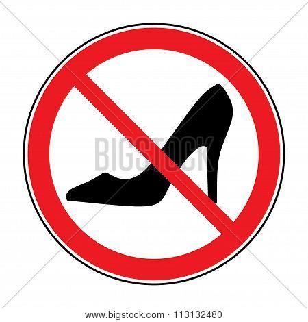 No High Heel Shoes Sign Warning