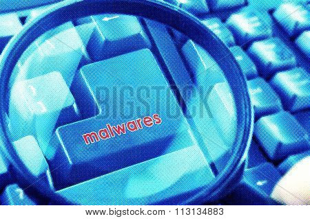 Magnifying Glass On Keyboard With Malwares Word On Button. Color Halftone Effect Applied.
