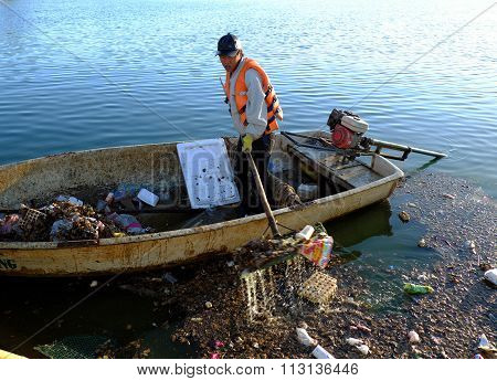 Vietnamese Sanitation Worker, Rubbish, Water, Pollution