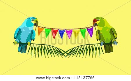 Illustration Of Two Parrots With Varicolored Flags On Yellow Background