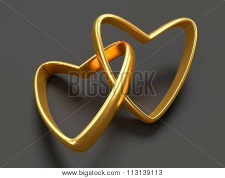 Two Gold Hearts Rings