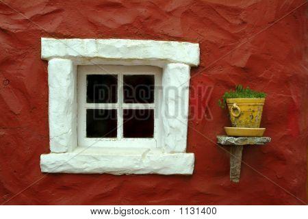 Beautiful Window In Red Wall