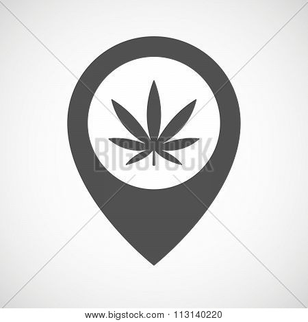 Isolated Map Marker With A Marijuana Leaf