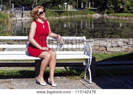 Independent elegant lady is enjoying the sunlight