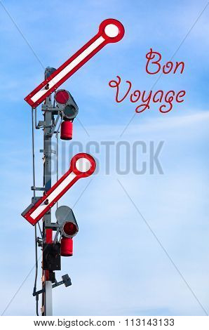 Departure Train Signal shows Go-Ahead - Bon Voyage