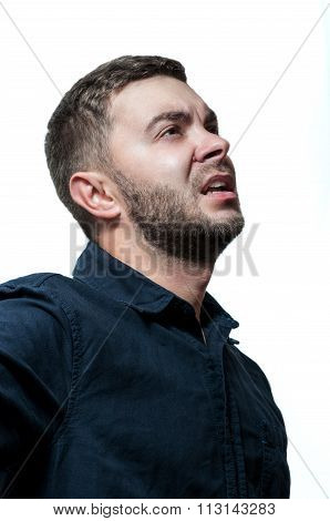 Closeup portrait of a groggy upset worried sad, depressed, tired business man isolated on white back