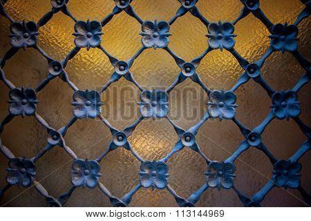 Window Detail With Ironwork Grid