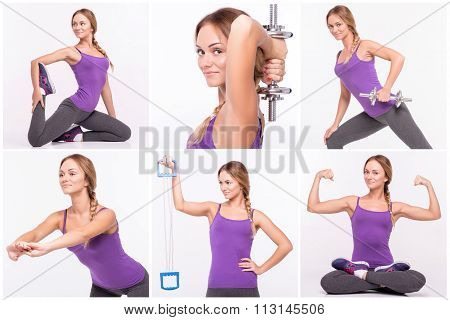 Nice pleasant woman doing sport exercises