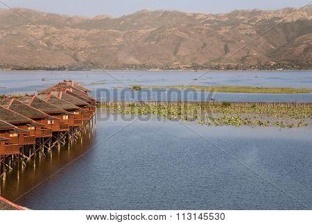 Inle Lake, Myanmar - Feb 19, 2011- Dusk, Floating Cottages Of Hupin Hotel On Inle Lake, Myanmar (bur