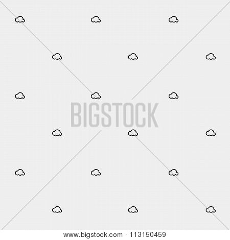 Geometric simple monochrome minimalistic vector holiday pattern, clouds
